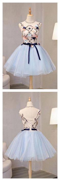 dresses for teens Vintage Light Blue Flower Short Princess Homecoming Dress Party Dresses,Applique Bead Tulle Homecoming Mini Dress Dresses For Teens, Trendy Dresses, Elegant Dresses, Cute Dresses, Vintage Dresses, Beautiful Dresses, Short Dresses, Fashion Dresses, Formal Dresses