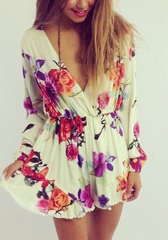 Long-Sleeve Floral Romper
