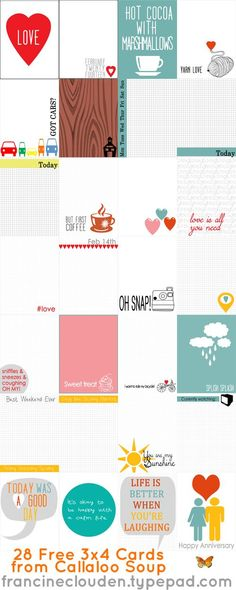 28 FREE 3x4 Cards from Callaloo Soup to use for Project Life, smash books, mini albums, journals, art journaling and even decor