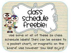 FREEBIE! Class Schedule Labels