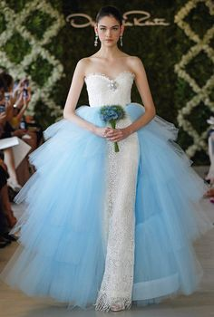 Oscar de la Renta Bridal 2013 ~ White sequin birdsnest knit sweetheart column gown with blue tulle tiered overskirt.