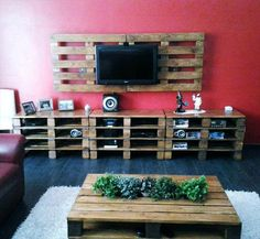 Pallet Entertainment Center - DIY 20 Upcycled Wood Pallet Ideas | 101 Pallets