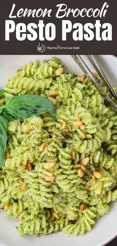 You'll love this twist on pesto pasta with broccoli and a good splash of fresh lemon juice. Loads of flavor! And this recipe makes extra pesto that you can freeze for later. #pasta #pestopasta #Italianfood #pastadinner #easyrecipes Pesto Pasta Recipes, Broccoli Recipes, Veggie Recipes, Salad Recipes, Vegetarian Recipes, Cooking Recipes, Healthy Recipes, Cooking Pasta, Tea Recipes