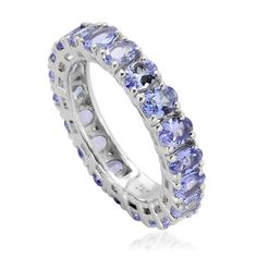 Liquidation Channel | Tanzanite Eternity Ring in Platinum Overlay Sterling Silver (Nickel Free)