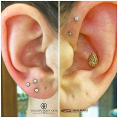 """What a fun start to the day!  Our client Melissa stopped by and had Cody do this cute triple lobe piercing with 2mm CZ's from NeoMetal.   Also pictured is her healed conch Cody got to do for her one year ago. The """"Kendra"""" from BVLA is one of our favorite pieces for conch piercings.   Thanks so much, Melissa!   @vaughnbodyarts Monterey, CA"""
