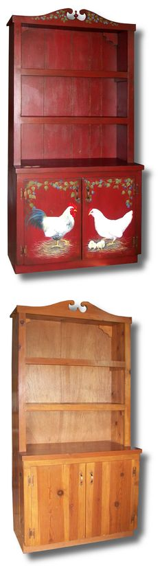 Pine kitchen pantry cabinet make over. French country rooster designed with Camden red background. Before and after.