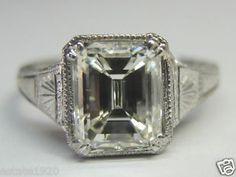Antique Emerald Diamond Engagement Solitaire Ring Platinum Art Deco Bridal Mount