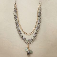 """HANALEI NECKLACE--Like a sun-streaked sea, glimmering sterling silver and 14kt gold filled gild the aquatic hues of labradorites, moss aquamarines and blue quartz. Lobster clasp. Exclusive. Handmade in USA. Approx. 19-1/2""""L."""