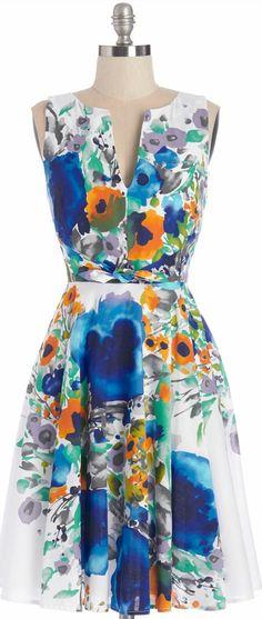 watercolor floral dress
