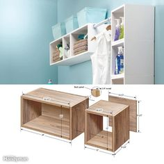These simple box shelves work equally well in a formal setting and a utilitarian room, like the laundry or garage. They offer an unlimited number of uses and arrangements. Hang some above the washer and dryer to store detergent, dryer sheets, and other laundry room necessities without taking up any valuable floor space.