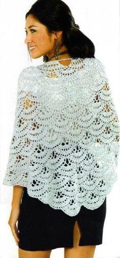17 Ideas for crochet shawl pattern diagram spanish Poncho Au Crochet, Crochet Coat, Crochet Shawls And Wraps, Crochet Scarves, Crochet Clothes, Crochet Stitches, Lace Shawls, Bride Crochet, Beau Crochet