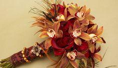 Wedding, Flowers, Bouquet, Red, Brown, Bridal, Orchids, Botanica floral designs