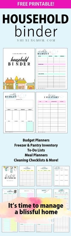 Download this free printable household binder designed for the busiest of them all- Moms! #planner #printables #householdbinder #shiningmomplanner