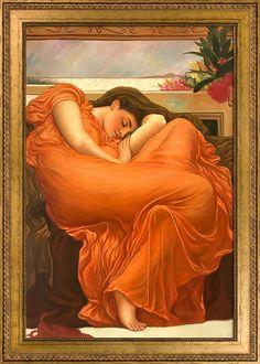 Frederic Leighton, Flaming June - Oil Painting on Canvas - Canvas Art Reproduction Oil Paintings Oil Painting Frames, Oil Painting On Canvas, Canvas Art, King Frame, Illustrator, Victorian Portraits, Sleeping Women, Renaissance Paintings, Renaissance Art