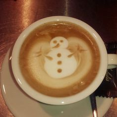 Snowman coffee by Kaldi Gouda