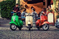 Three scooters in the Trastevere neighborhood in Rome. Photo by David Juan