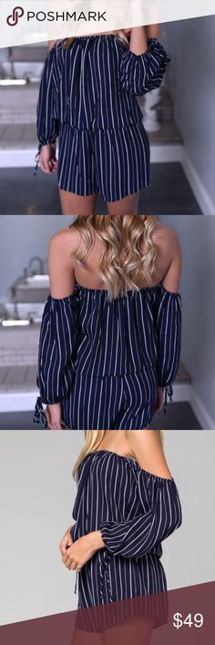 """🌸Honey Punch Striped Off Shoulder Romper NWT Perfect Condition  Never worn  Questions? Feel free to ask! Love it? Make an offer or click """"Buy Now""""! Love something else too? Bundle & Save!   Top Rated Seller Fast Shipper Top 10% Seller Posh Mentor Suggested User Honey Punch Dresses"""
