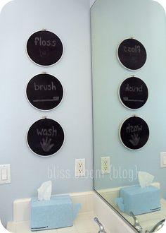 Chalk it Up! Blue Brown Bathroom, Bathroom Artwork, Bathroom Ideas, Chalk It Up, Wash Brush, Home Wall Decor, Home Remodeling, Bliss, Interior Decorating