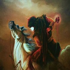 Ali Akbar (AS) ibn Hussain (AS) was struck with arrows and one of them wounded his blessed Liver. Al-Akbar (AS) collapsed from His Horse.