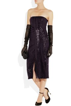 Diane von Furstenberg | Piaza sequined silk dress | Shown here with: Versace gloves, Diane von Furstenberg shoes, Bottega Veneta clutch