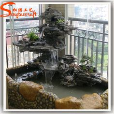 Pin on tutorials: miniature ponds & fountains Indoor Pond, Indoor Water Garden, Indoor Water Fountains, Backyard Water Feature, Indoor Fountain, Ponds Backyard, Rock Waterfall, Indoor Waterfall, Waterfall Fountain