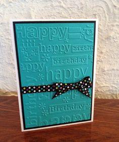 Items similar to Handmade Happy Birthday Embossed Card on Etsy Handmade Happy Birthday Embossed Card by elisa Birthday Cards For Women, Handmade Birthday Cards, Greeting Cards Handmade, Women Birthday, Cricut Cards, Stampin Up Cards, Card Making Inspiration, Making Ideas, Pinterest Birthday Cards