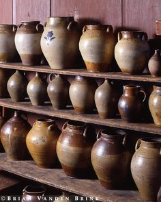Rows of Pots & Jugs. Antique Crocks, Old Crocks, Antique Stoneware, Stoneware Crocks, Antique Pottery, Earthenware, Pottery Art, Glazes For Pottery, Glazed Pottery