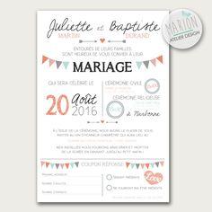Faire part de mariage thème fanions - à imprimer vous-même