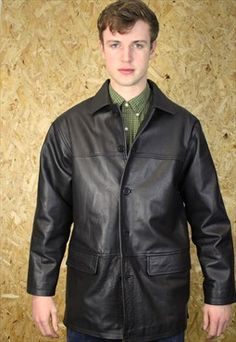 Vintage Black Stiff Leather Jacket
