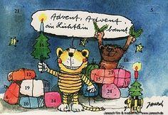 Advent, Advent, ein Lichtlein brennt. #Glückwunsch, #Advent, #Postkarte, #Janosch