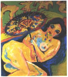 Ernst Ludwig Kirchner NUDE UNDER A JAPANESE UMBRELLA 1909 o/c GERMAN EXPRESSIONISM