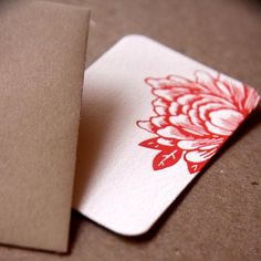 business cards | flower red