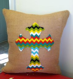 Burlap Pillow with an Applique Cross by ModernRusticGirl on Etsy, $28.00
