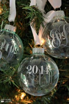 Monogrammed Christmas Ornaments - fun Silhouette project via Just a Girl and Her Blog