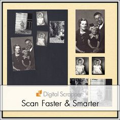 Speed Scanning| Digi Scrap Tutorial @ DigitalScrapper.com Use Photoshop and Photoshop Elements to cut down on the time it takes to scan old pictures. http://digitalscrapper.com/tutorials/speed-scanning/