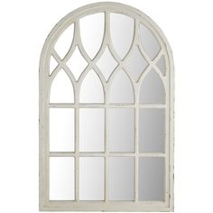 Add architectural interest to even the plainest wall with our Window Mirror. Place it anywhere you need a prettier view or in a corner that could benefit from beautifully reflected plays of light. A painted light brown finish completes the look. Cathedral Mirror, White Home Decor, Window Seat Kitchen, Windows, White Windows, Window Mirror, Arched Windows, Arched Window Mirror, Mirror