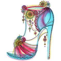 Vibrant Stylised High Heel Shoe Print by SarahTravisArt on Etsy, £7.00
