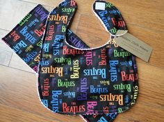 Bib and Burp Cloth Set The Beatles by KayleighAdamsDesigns on Etsy, $14.00 (I want to make this to match the wipe case I made)