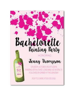 Bachelorette Painting Party Invitation, Paint & Wine bachelorette printable invite by Invites2Adore. Great for a casual night out with the girls - A little bit of paint, A little bit of Wine.