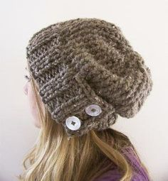 augustyn a slouchy hand knit hat in barley by bungaloe on Etsy - i wish i could look good in these damn hats, haha.