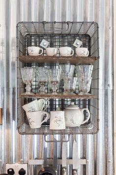 Shelves from metal baskets Shabby chic  by Chris Snook