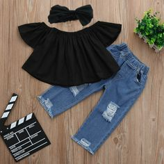 Baby Girl Fall Outfits Set Off Shoulder Blouse + Hollow Out Jeans +Headband Baby Girl Fall Outfits, Baby Outfits Newborn, Baby Girl Fashion, Toddler Fashion, Toddler Outfits, Kids Fashion, Toddler Girls Clothes, Baby Girl Jeans, Fashion Spring