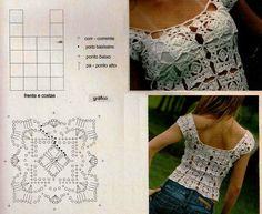 TOP CROCHET GRANNYS PATRÓN | Patrones Crochet, Manualidades y Reciclado