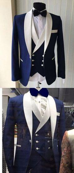 Blue/White Groomsmen Suit Men's Wedding Tuxedo Three Pieces (Jacket+pants +vest) blue prom suit Costume Smoking, Indian Groom Wear, Herren Style, Designer Suits For Men, Look Man, Tuxedo Suit, 3 Piece Suits, Blue Three Piece Suit, Herren Outfit