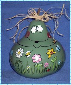 Hand painted Gourd  Birdhouse Frog with flowers by llister on Etsy, $12.99