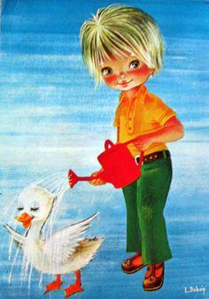 Vintage 70s Card Big Eyed Girl | par Sillyshopping