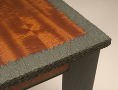 Custom Made Mahogany Side Table by Neal Barrett Woodworking - love the texture along the edges
