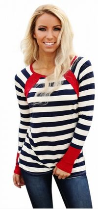 Navy White Red Splice Accent Striped O-neck Long Sleeve Regular Shirt In Striped Long Sleeve Shirt, Long Sleeve Tops, Long Sleeve Shirts, Scarf Knots, Stylish Shirts, Red Shirt, Work Casual, Lady, Navy And White