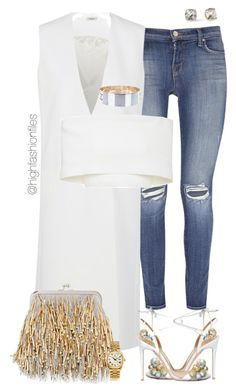 """""""Untitled #2695"""" by highfashionfiles on Polyvore featuring Aquazzura, J Brand, Thierry Mugler, Rosetta Getty, By Malene Birger, Neiman Marcus, Rolex and Kate Spade"""