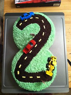 Cars birthday party cake numbers Ideas for 2019 Transportation Birthday, Race Car Birthday, 2 Birthday Cake, Trains Birthday Party, Boy Birthday Parties, Birthday Ideas, Thomas Birthday, Auto Party, Car Party